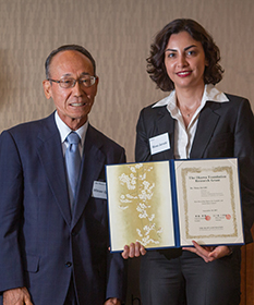 """Presentation of Grants"" Mr. Mitsuo Igarashi, Chairman (Left)Dr. Mona Jarrahi, UCLA (Right)"